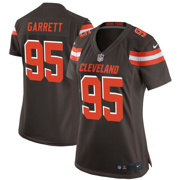 Women Cleveland Browns 95 Myles Garrett Nike Brown 2017 Draft Pick NFL Game Jersey