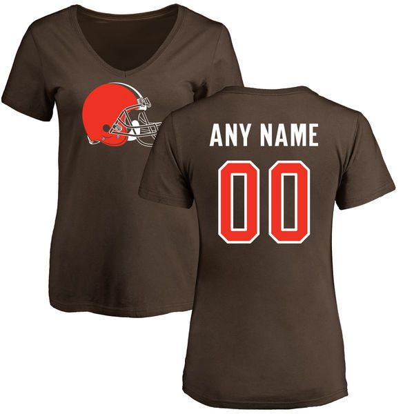 Women Cleveland Browns NFL Pro Line Brown Any Name and Number Logo Custom Slim Fit T-Shirt