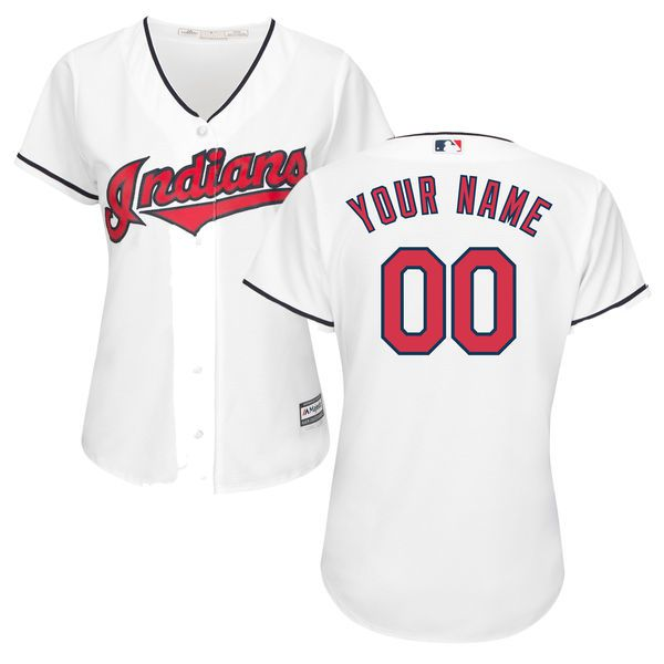 Women Cleveland Indians Majestic White Home Cool Base Custom MLB Jersey