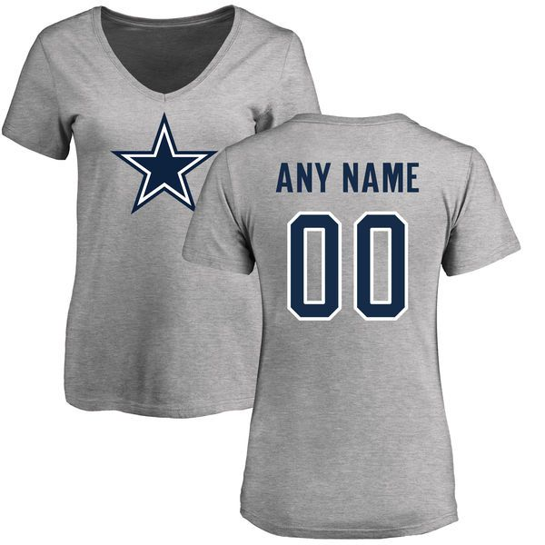 dbd8cd01023 Women Dallas Cowboys NFL Pro Line by Fanatics Branded Ash Custom Name and Number  Logo T