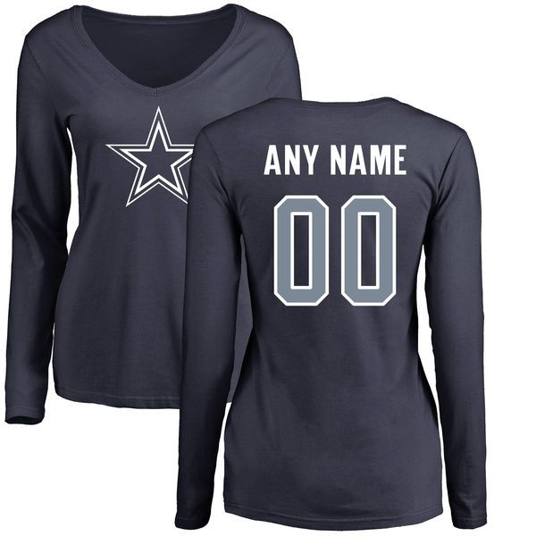 a72d3d12c Women Dallas Cowboys NFL Pro Line by Fanatics Branded Navy Custom Name and  Number Long Sleeve