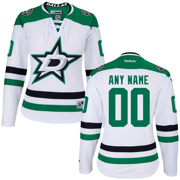 Women Dallas Stars Reebok White Custom Premier NHL Jersey