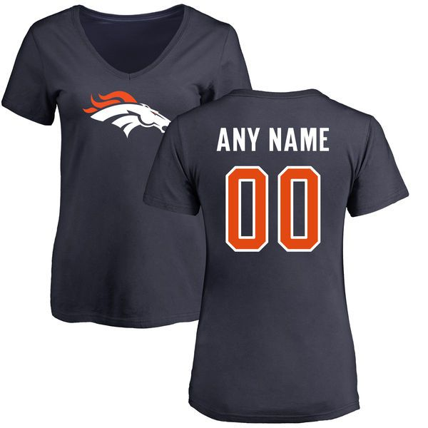 Women Denver Broncos NFL Pro Line Navy Custom Name and Number Logo Slim Fit T-Shirt