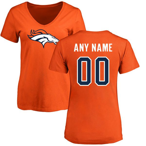 Women Denver Broncos NFL Pro Line Orange Any Name and Number Logo Custom Slim Fit T-Shirt