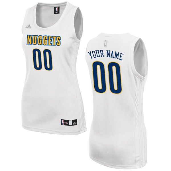 Women Denver Nuggets Adidas White Custom Fashion NBA Jersey