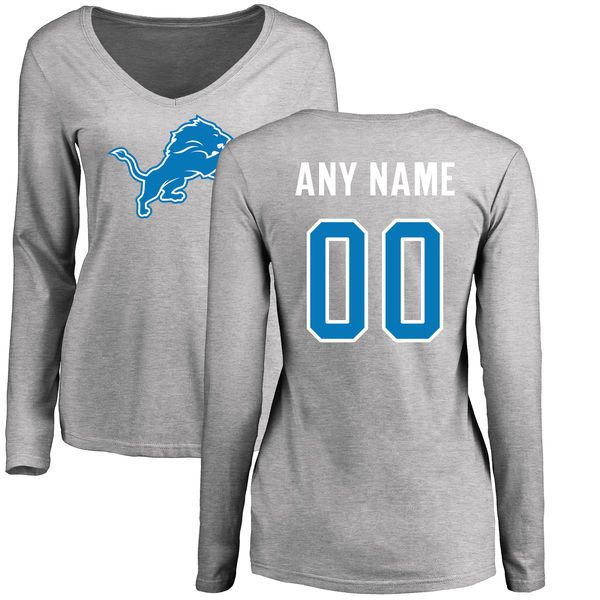 Women Detroit Lions Pro Line Ash Custom Name and Number Logo Slim Fit Long Sleeve NFL T-Shirt