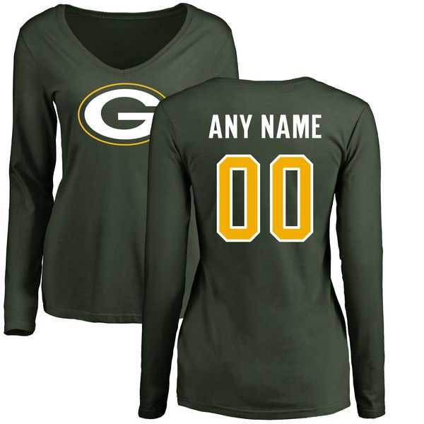 Women Green Bay Packers Green Any Name and Number Logo Slim Fit Long Sleeve Custom NFL T-Shirt