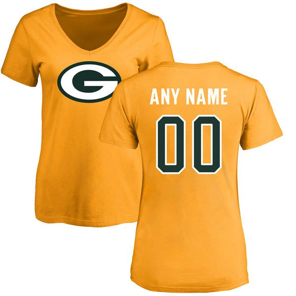 Women Green Bay Packers NFL Pro Line Gold Custom Name and Number Logo Slim Fit T-Shirt