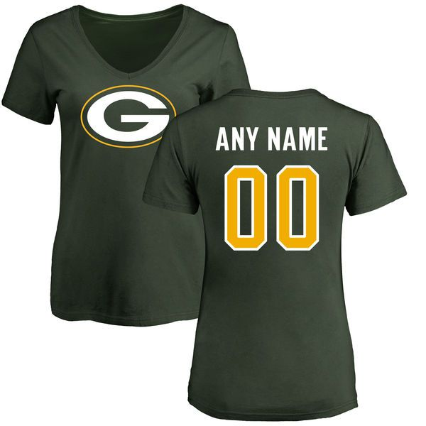 Women Green Bay Packers NFL Pro Line Green Any Name and Number Logo Custom Slim Fit T-Shirt