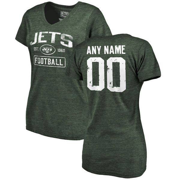 Women Green New York Jets Distressed Custom Name and Number Tri-Blend V-Neck NFL T-Shirt