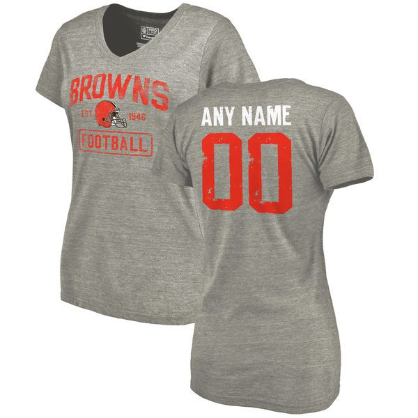Women Heather Gray Cleveland Browns Distressed Custom Name and Number Tri-Blend V-Neck NFL T-Shirt