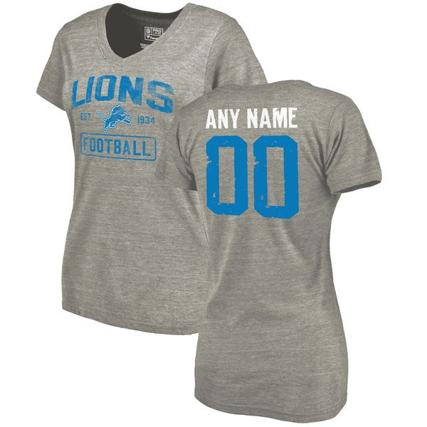 Women Heather Gray Detroit Lions Distressed Custom Name and Number Tri-Blend V-Neck NFL T-Shirt