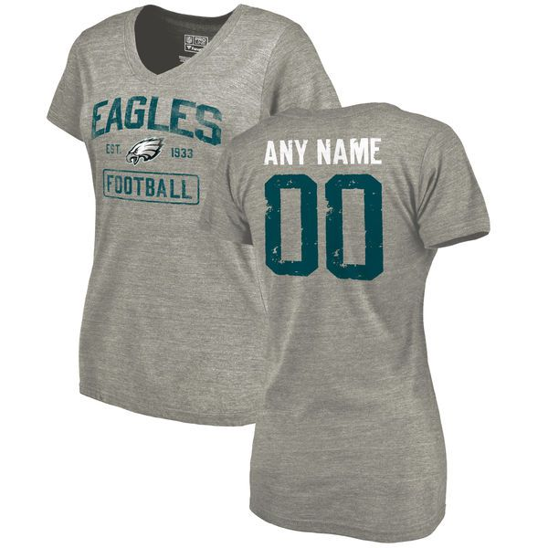 Women Heather Gray Philadelphia Eagles Distressed Custom Name and Number Tri-Blend V-Neck NFL T-Shirt