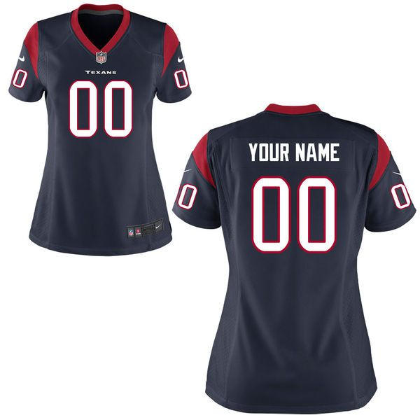 Women Houston Texans Nike Navy Blue Custom Game NFL Jersey