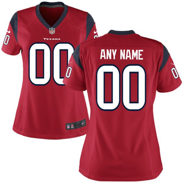 Women Houston Texans Nike Red Custom Game NFL Jersey