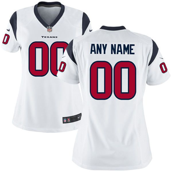Women Houston Texans Nike White Custom Game NFL Jersey