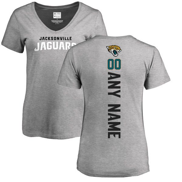 Women Jacksonville Jaguars NFL Pro Line Ash Custom Backer V-Neck T-Shirt