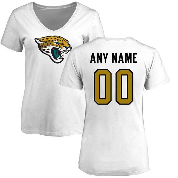 Women Jacksonville Jaguars NFL Pro Line White Custom Name and Number Logo Slim Fit T-Shirt