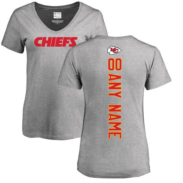 Women Kansas City Chiefs NFL Pro Line Ash Custom Backer V-Neck T-Shirt