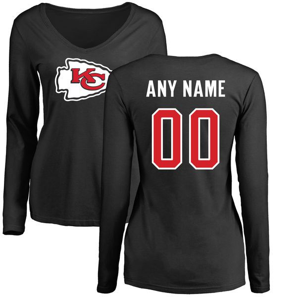 Women Kansas City Chiefs NFL Pro Line Black Custom Name and Number Logo Slim Fit Long Sleeve T-Shirt