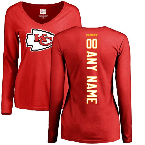 Women Kansas City Chiefs NFL Pro Line Red Custom Backer Slim Fit Long Sleeve T-Shirt