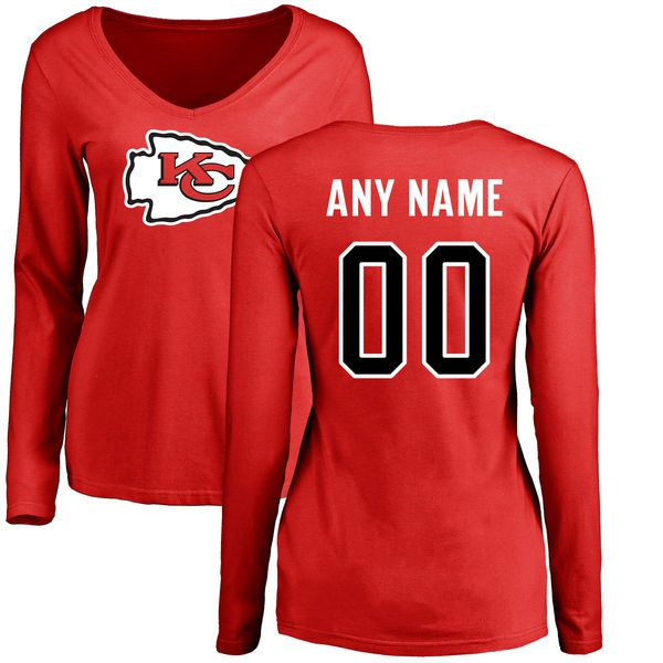 Women Kansas City Chiefs NFL Pro Line Red Custom Name and Number Logo Slim Fit Long Sleeve T-Shirt