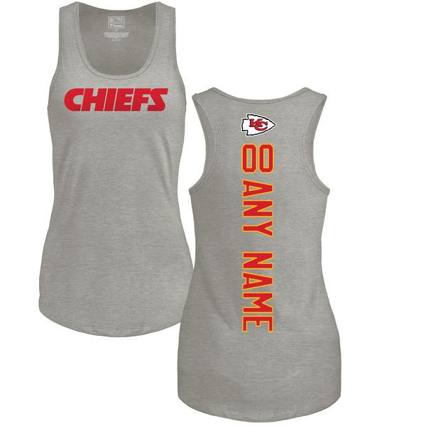 Women Kansas City Chiefs NFL Pro Line by Fanatics Branded Ash Custom Backer Tri-Blend Tank Top T-Shirt