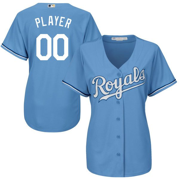 Women Kansas City Royals Majestic Light Blue Cool Base Custom Alternate MLB Jersey