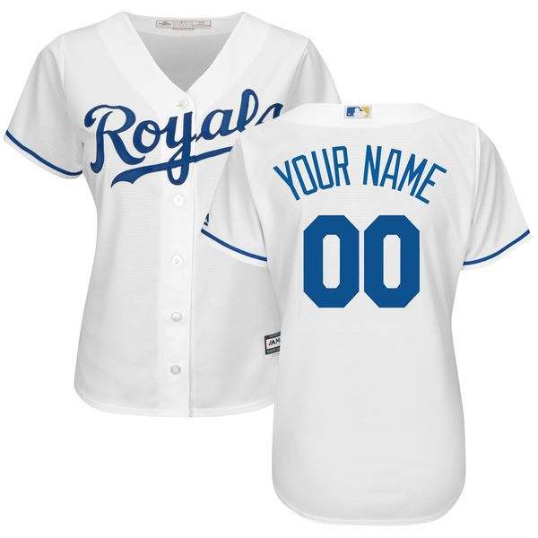 Women Kansas City Royals Majestic White Home Cool Base Custom MLB Jersey