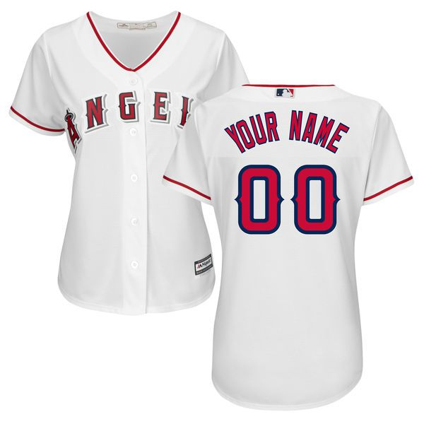Women Los Angeles Angels of Anaheim Majestic White Home Cool Base Custom MLB Jersey