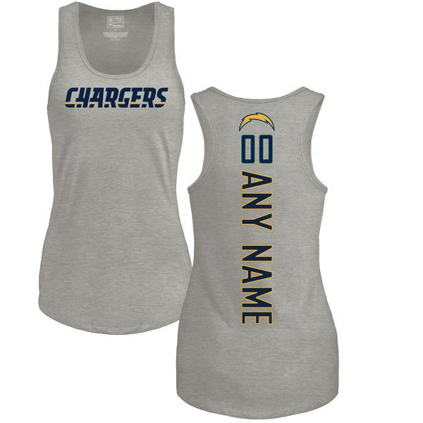 Women Los Angeles Chargers NFL Pro Line by Fanatics Branded Ash Custom Backer Tri-Blend Tank Top T-Shirt