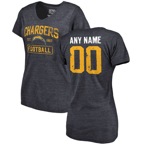 Women Los Angeles Chargers NFL Pro Line by Fanatics Branded Navy Distressed Custom Name and Number Slim Fit V-Neck T-Shirt