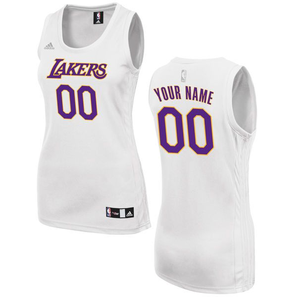 Women Los Angeles Lakers Adidas White Custom Fashion NBA Jersey