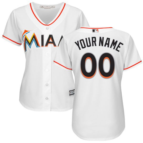Women Miami Marlins Majestic White Home Cool Base Custom MLB Jersey