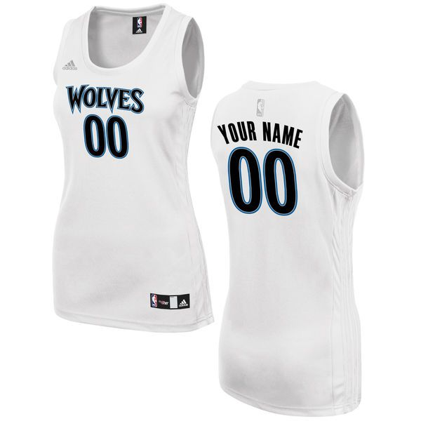 Women Minnesota Timberwolves Adidas White Custom Fashion NBA Jersey