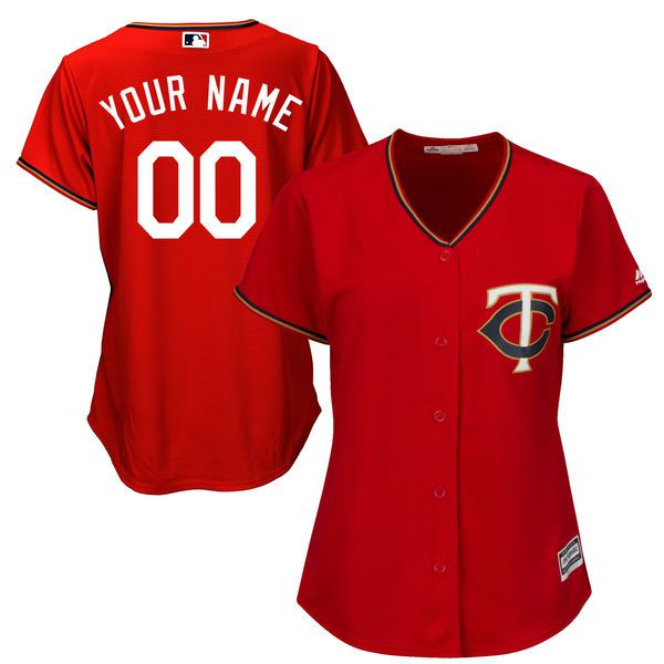 Women Minnesota Twins Majestic Red Scarlet Cool Base Alternate MLB Jersey