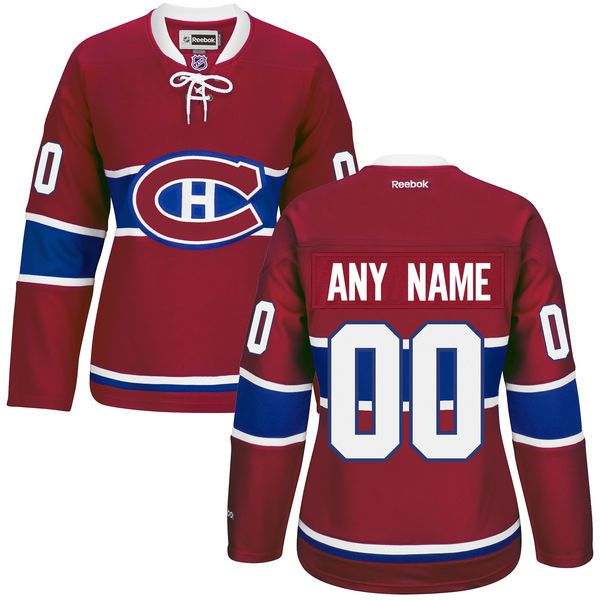 Women Montreal Canadiens Red Premier Home Custom NHL Jersey