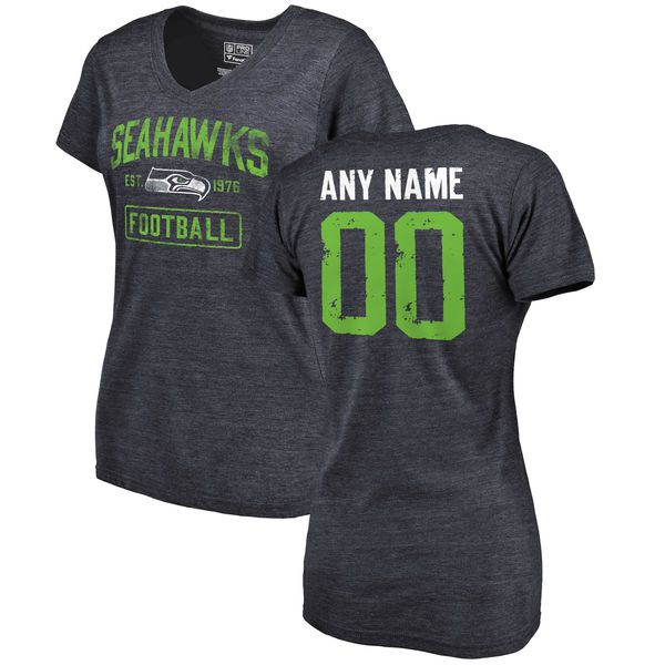 Women Navy Seattle Seahawks Distressed Custom Name and Number Tri-Blend V-Neck NFL T-Shirt