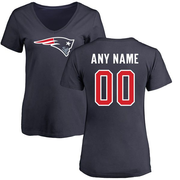 Women New England Patriots NFL Pro Line Navy Any Name and Number Logo Custom Slim Fit T-Shirt