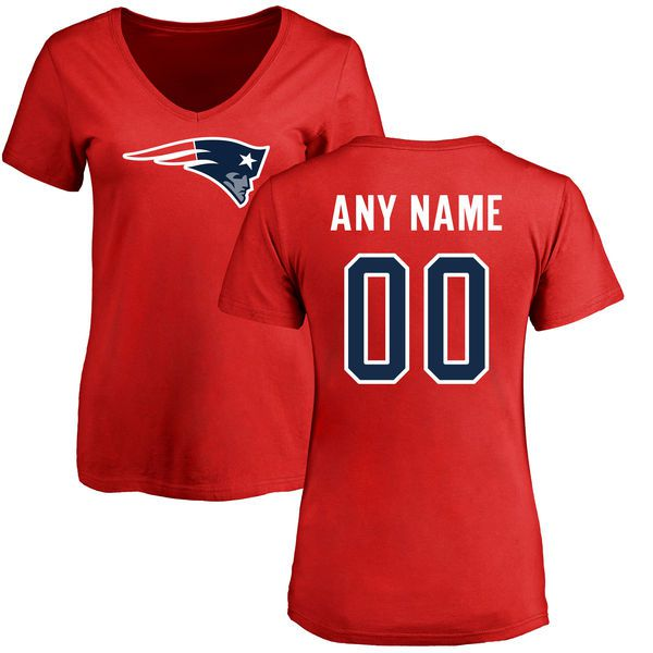 Women New England Patriots NFL Pro Line Red Custom Name and Number Logo Slim Fit T-Shirt