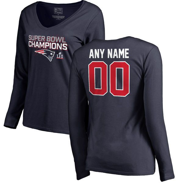 Women New England Patriots NFL Pro Line by Fanatics Branded Navy Super Bowl LI Champions Custom V-Neck Long Sleeve T-Shirt