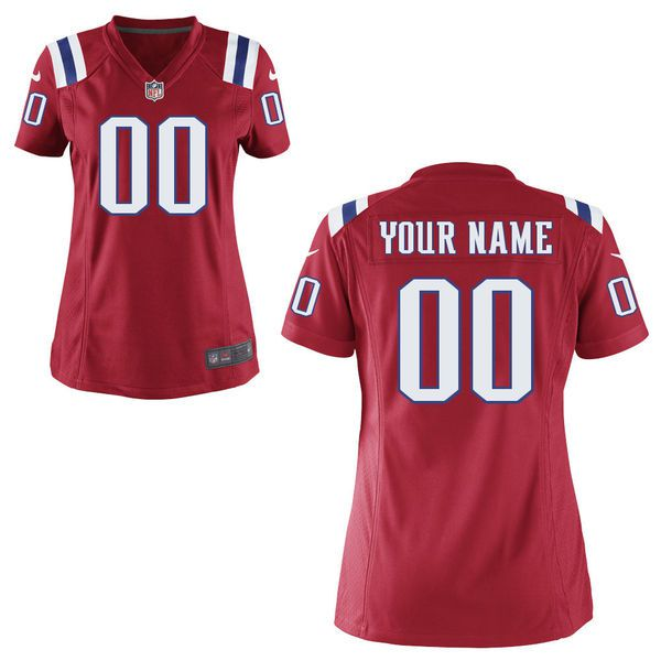 Women New England Patriots Nike Red Custom Game NFL Jersey