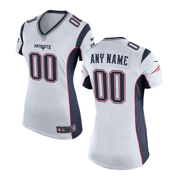 Women New England Patriots Nike White Custom Game NFL Jersey