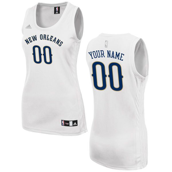 Women New Orleans Pelicans Adidas White Custom Fashion NBA Jersey