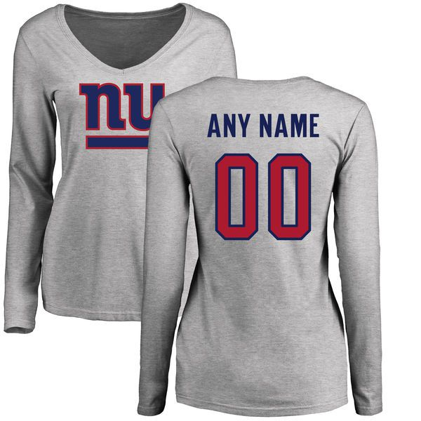 Women New York Giants NFL Pro Line Ash Custom Name and Number Logo Slim Fit Long Sleeve T-Shirt