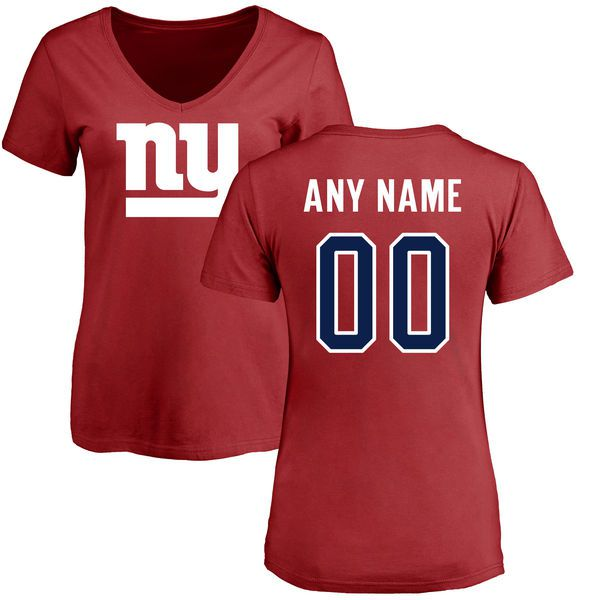 Women New York Giants NFL Pro Line Red Custom Name and Number Logo Slim Fit T-Shirt