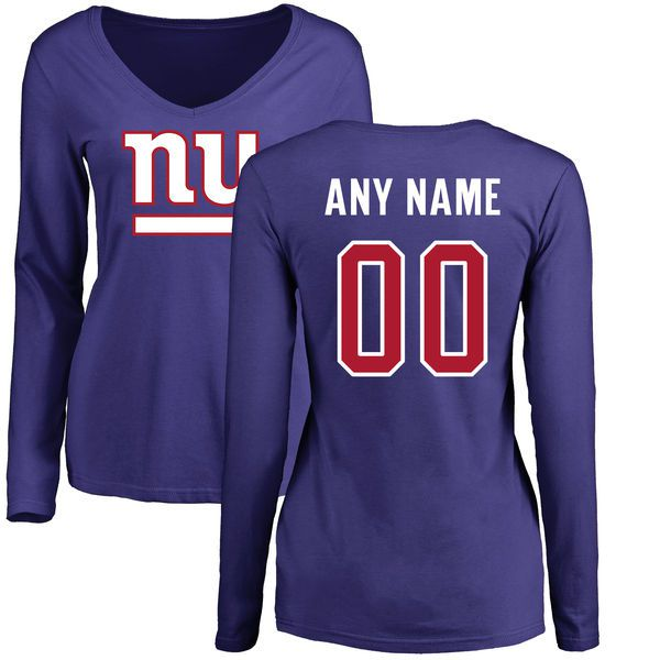 Women New York Giants NFL Pro Line by Fanatics Branded Royal Custom Name and Number Long Sleeve T-Shirt