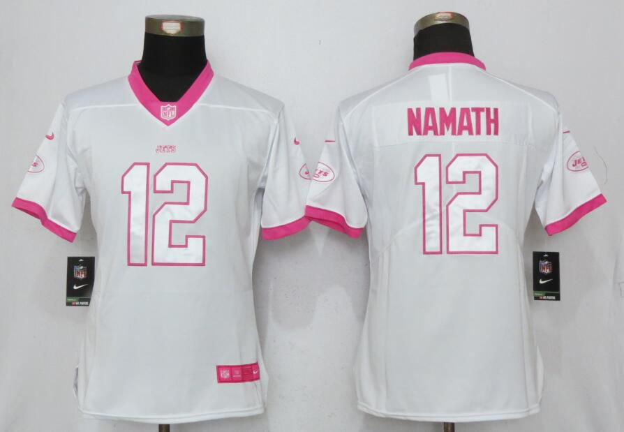 Women New York Jets 12 Namath Matthews White Pink Stitched NFL Nike Rush Fashion NFL Jersey