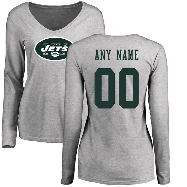 Women New York Jets NFL Pro Line Ash Custom Name and Number Logo Slim Fit Long Sleeve T-Shirt