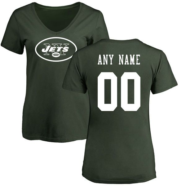 Women New York Jets NFL Pro Line Green Any Name and Number Logo Custom Slim Fit T-Shirt